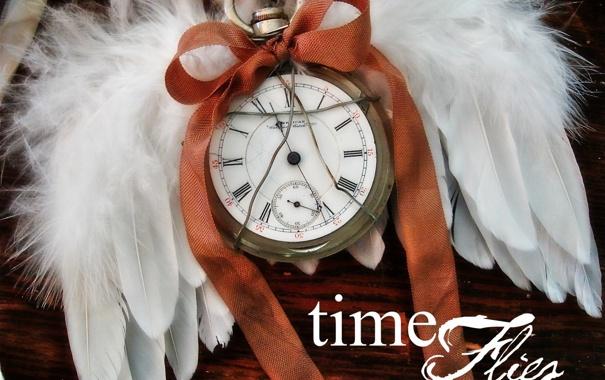 Фото обои время, часы, крылья, старые, ангел, wings, old