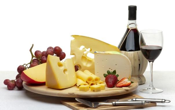 Фото обои вино, бокал, бутылка, сыр, клубника, виноград, нож