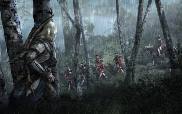 Фото обои лес, ночь, дождь, солдаты, Кредо Убийцы 3, Assassin's Creed III, Коннор Кенуэй