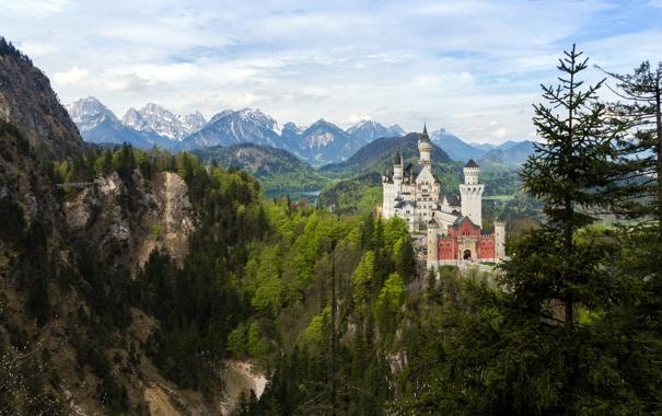 Фото обои лес, горы, природа, замок, Neuschwanstein, Germany, Bavaria
