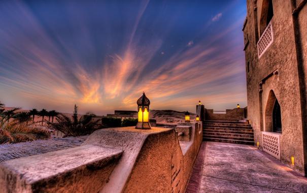 Фото обои закат, пальмы, вечер, фонари, отель, Abu Dhabi, ОАЭ
