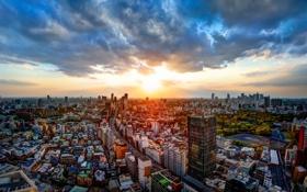 Картинка закат, здания, Токио, Япония, панорама, дорога, Japan
