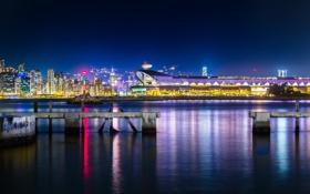 Картинка ночь, город, огни, Hong Kong, Kwun Tong Ferry Pier