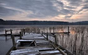 Картинка пейзаж, закат, мост, озеро, вечер