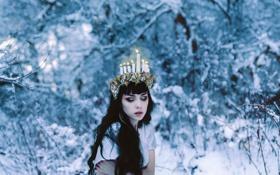Картинка зима, фон, девушка.свечи