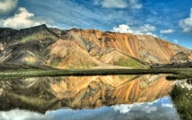 Обои горы, озеро, отражение, Исландия