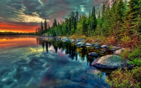 Обои закат, облака, деревья, природа, Пейзажи, небо, озеро