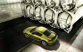 Картинка зеленый, Porsche, cayman R, цисцерны