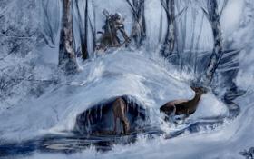 Обои зима, лес, ассасин, коннор, Assasins Creed 3
