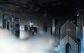 Картинка облака, ночь, город, туман, Дубай, Dubai, ОАЭ