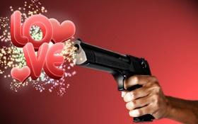 Обои любовь, пистолет, рука, красный фон, i love you