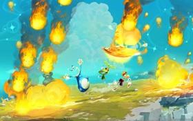 Обои огонь, sky, fire, небо, Ubisoft, Rayman Legends, Montpellier