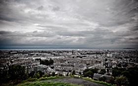 Обои небо, трава, облака, деревья, city, город, здания