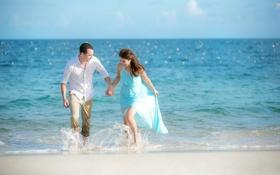 Картинка песок, море, пляж, солнце, горизонт, пара, невеста