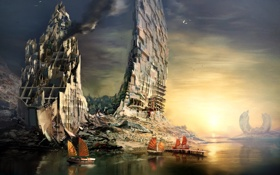 Обои город, корабли, Guild Wars 2, гавань