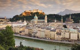 Обои река, здания, Австрия, Austria, Salzburg, Зальцбург, Hohensalzburg castle