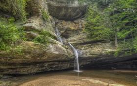Картинка скала, лес, камни, водопад