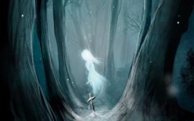 Обои лес, девушка, снег, деревья, крест, арт, призрак