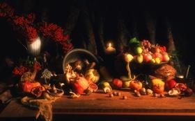 Обои осень, яблоки, свечи, октябрь, урожай, тыква, фрукты