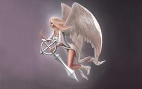 Обои Ангел, меч, девушка, простой фон