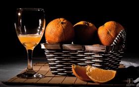 Картинка цитрусы, апельсины, корзинка, бокал, сок, темный фон, дольки