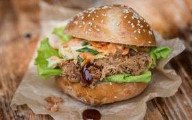 Картинка мясо, бутерброд, гамбургер, кунжут, салат, начинка