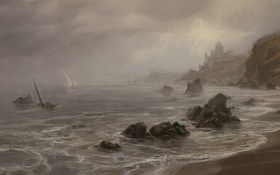 Обои море, туман, корабль, паруса, нарисованный пейзаж
