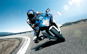 Картинка скорость, трасса, мотоцикл, Suzuki, гонщик