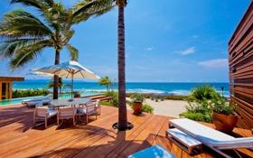 Обои luxury, mexico, palm, villa, ocean