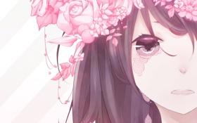 Обои глаза, девушка, цветы, лицо, розы, аниме, слезы
