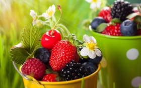 Картинка трава, цветы, вишня, ягоды, малина, черника, клубника