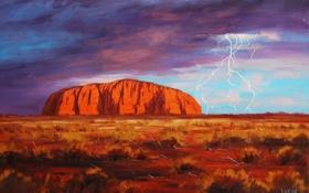 Картинка гроза, пустыня, гора, австралия, art, artsaus, улуру