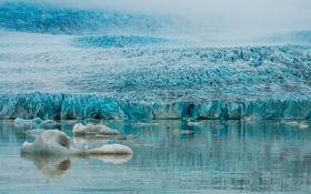 Картинка лед, море, склон, ледник