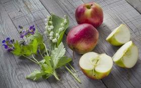 Обои ландыши, яблоки, sliced, дольки, apples, lilies, flowers