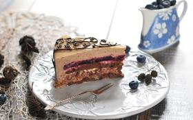 Обои ягоды, черника, торт, пирожное, cake, десерт, джем