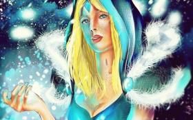 Обои снег, девушка, мороз