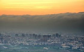Обои закат, небо, город, цунами