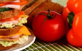 Обои хлеб, перец, бутерброд, помидор, салат, ветчина
