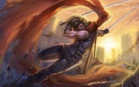 Картинка оружие, арт, битва, парень, плащ, клинки, XGmist