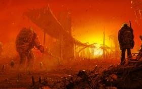 Обои конец света, робот, люди, мост, апокалипсис