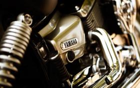 Обои макро, двигатель, мотоцикл, хром, yamaha, bike, мотор