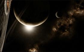 Обои туманность, звезды, кольца, nebula, планеты, кратеры, спутники