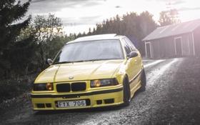 Обои BMW, БМВ, Желтая, E36, Stance, 325