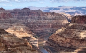 Картинка Аризона, река, небо, National Park, Grand Canyon, каньон, горы