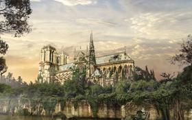 Картинка болото, The Last of Us, деревья, растение, арт, здание