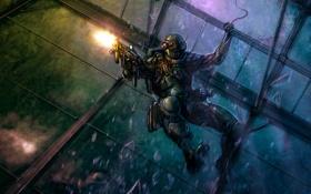 Картинка стекло, солдат, штурм, десант, пальба, разбитое