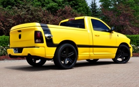 Обои Dodge, yellow, 1500, track, ram, back, rumble bee concept