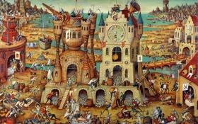 Картинка город, люди, часы, черепа, праздность