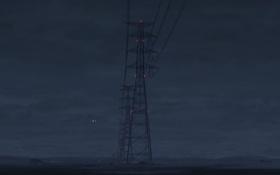 Обои ночь, провода, лэп