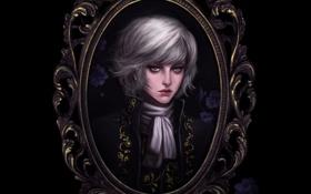 Картинка цветы, узор, рамка, Портрет, парень, черный фон